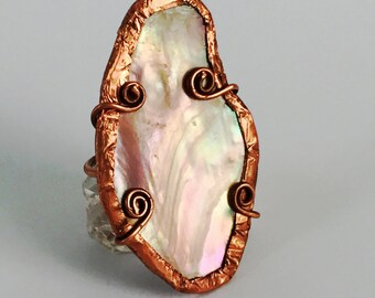 Ring Pink Mussel Shell & Copper Sz 5 Tsalagi Cherokee Made