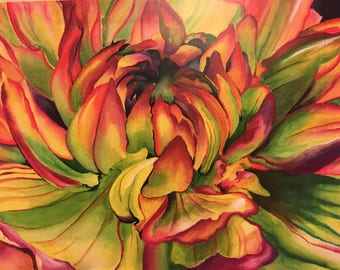Watercolor Dahlia