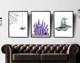 Halloween print set of 3, witch art print, halloween printable decor, halloween decor, fall art, halloween print