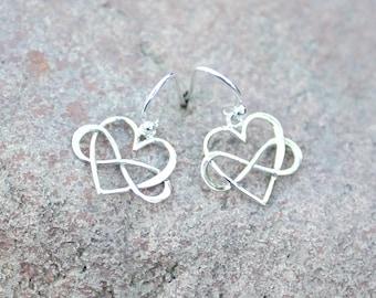 HEART Earrings, INFINITY Earrings, Sterling Silver earrings, Drop, Dangle, Christmas GIFT