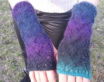 Fingerless gloves, arm warmers, fingerless gloves warmers, hand-made in shades of blue