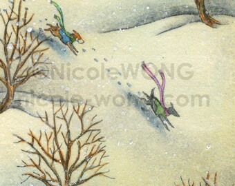 Original ACEO Drawing and Painting -- Winter Run