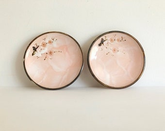 vintage japanese hand painted cherry blossoms plates, saucer, ceramic soy sauce dish, stoneware, earthenware