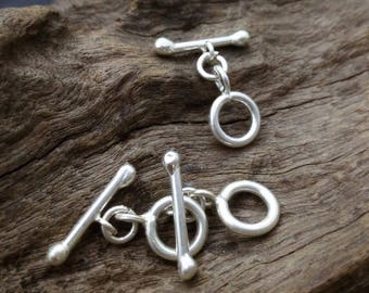Handmade Silver Plain Round Toggles with Bar,approx: 10 mm.,2 pcs.