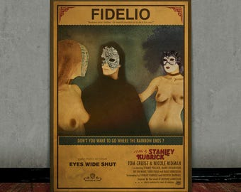 Eyes wide shut, Stanley Kubrick, Colored retro classic movie poster