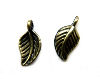 10 Small Bronze Leaf Charms - 14mm
