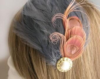 Pink peacock feather fascinator, AGATHA design (5 fastener, 8 color option) derby fascinator,mardi gras headdress,1920s flapper style