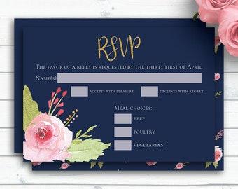 Navy Blue RSVP Card, Personalized Invitation Template, RSVP Card, Wedding Response, Printable rsvp, Floral Rose Printable, RSVP Insert