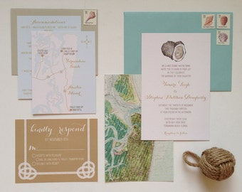 Custom Oyster Nautical Wedding Invitation Suite