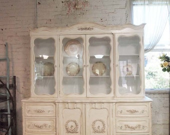 Painted Cottage Chic Shabby Tea-Stained Romantic French China Cabinet CC58