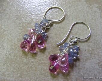 Pink awareness inspired earrings of Pink Corundum and Tanzanite.