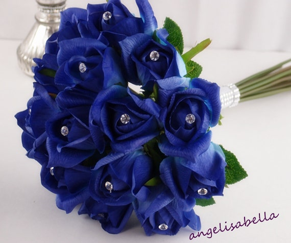 Items Similar To Royal Blue Wedding Rose Bouquet And