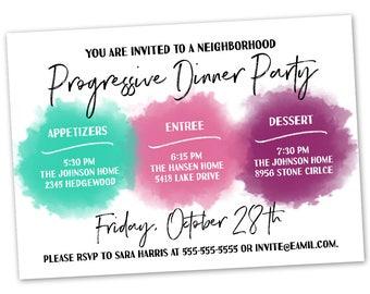 Progressive dinner etsy progressive dinner party invitation announcement card digital customized custom neighborhood block party house gathering watercolor stopboris Choice Image