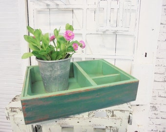 Vintage wooden box Shabby Chic wooden box petrol green