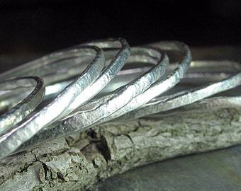 Stacking Bangle set of 3 in textured fine silver - Summerlight