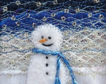 Snowman card - 5.5 inch square fabric art card - beaded embroidered winter landscape handmade greeting card - stitched Christmas card