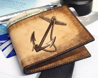 Slim Leather Wallet - Mens Wallets - BiFold Wallet - Anchor