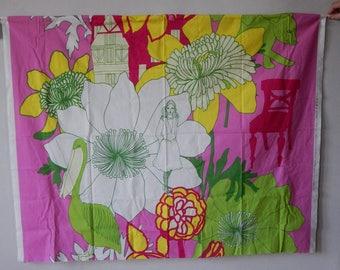 "Scandinavian Fabric Made in Finland by MARIMEKKO Oy Suomi Finland design Teresa Moorhouse Pink ""SATUMAA"" Curtain Fabric Textile"