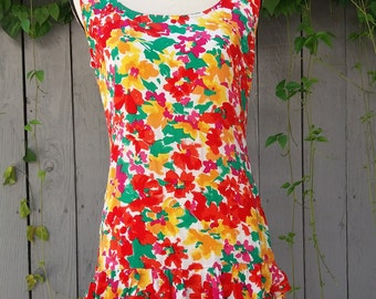 1980's floral drop waist layered ruffle dress by Paris Blues