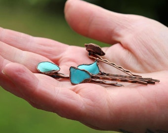 Stone Bobby Pin - Turquoise Hair Pin - Copper Hair Jewelry