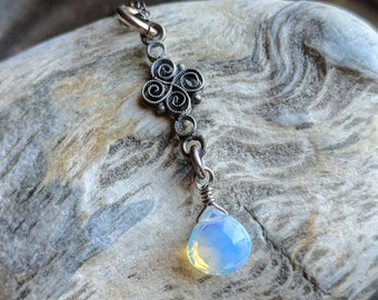 Sterling silver filigree and faceted opaline glass briolette lavalier necklace - handmade jewelry