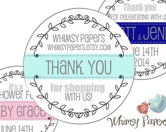 Personalized Laurel Wreath - Packaging Stickers, Address Labels, Wedding