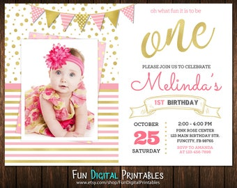 Pink And Gold First Birthday Invitation Printable, 1st Birthday Invitations Girl With Pictures, First Birthday Invitation Girl Photo