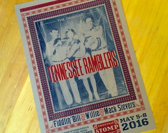 Rustic poster of TENNESSEE RAMBLERS Stringband Vintage photo 78 Records LP Vinyl Knoxville Sessions Bear Family Records Vocalion musicians