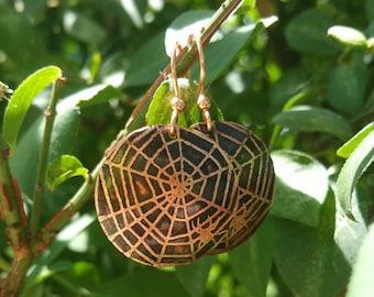 Spider Earrings, Spider Web Jewelry, Halloween Jewelry, Halloween Earrings, Spider Jewelry, Copper Earrings, Metalwork Earrings, Spider Web