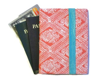 Women's Passport Holder, Family Travel Wallet, Passport Wallet for 1-6, Coral Passport Cover, Cell Phone Case - Ready to Ship Travel Gift