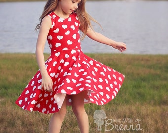 Paisley's Open Back Peplum Top & Dress. PDF sewing pattern for toddler girl sizes 2t - 12.