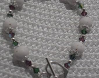 Swarovski Crystal and Flower Petal Bead Bracelet