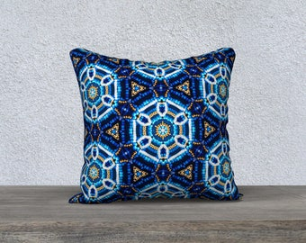 """18""""x18"""" - Square Throw Cushion Cover - Blue and Gold 'Beaded' print - Inspired by Beadwork/Beading"""