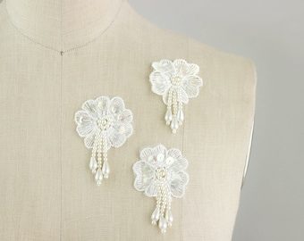 NEW ITEM! Ivory Fringe Beaded Floral Appliques / 3 Pieces / Floral Medallions / Sequins / Embroidered Organza / Wedding Dress Trim / Pasties