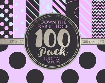 Digital Paper 100 Pack - Down the Rabbit Hole - Commercial Use