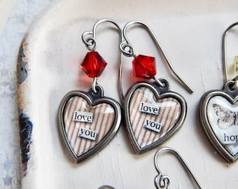 Valentine's Day heart earrings - Love You - crystal heart earrings - I love you stripe earrings