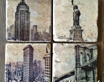 New York City NYC Stone Coaster Set, Handmade Travertine Stone Tile, Empire State, Statue of Liberty, Brooklyn Bridge, Flatiron, Skyline