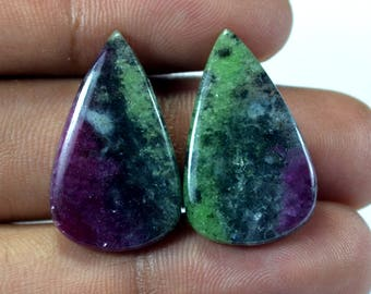 Designer Semi precious Natural Ruby zoisite 26x16x4 mm Briolette Matched Pair 30 Cts loose gemstone - Making Jewelry