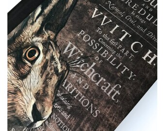 Occult Magical Witchcraft / Witch Hare Familiar Nature Spirit. A5 Hardback Notebook Spell Book Journal Grimoire Blank Lined Paper Inside.