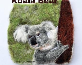 Koala bear needle felted wool painting, wall hanging, nursery, gift, birthday, cards,