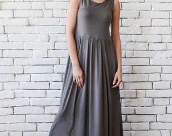 Long Loose Maxi Dress/Asymmetric Kaftan/Back Detail Dress/Oversize Long Top/Plus Size Tunic Dress/Sleeveless Long Dress/Everyday Dress