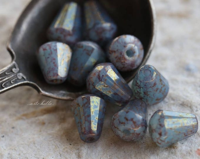 HUSH DROPETTES .. 10 Picasso Czech Glass Drop Beads 8x6mm (5869-10)