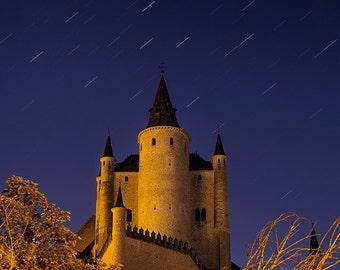 Alcazar of Segovia, Castle, Fortress, Spain, España, Star Trails, Night Sky, Castile and Leon - Travel Photography, Print, Wall Art