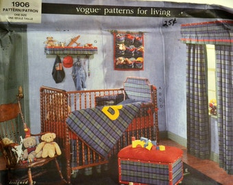 Sewing Pattern Vogue 1906 Baby Room Uncut Complete Factory folds