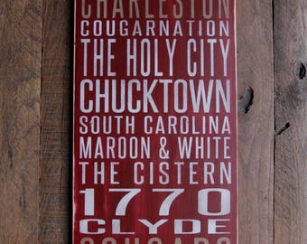 College of Charleston Cougars Distressed Wood Sign-Great Father's Day Gift!