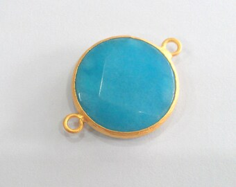 Gold Pendant Blue Pendant Connector , Gold Plated Bezel  G973