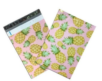 TAX SEASON Stock up 25 Pack Tear Proof PIneapple Tropical Design Plastic Poly Mailing Self Stick Closing Envelopes  6X9 Inches