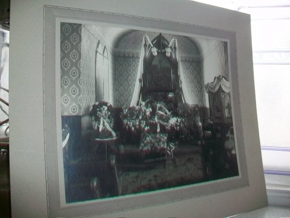 1800s Victorian Mourning Photo Funeral Casket Original Antique Photograph Large 14 X 12