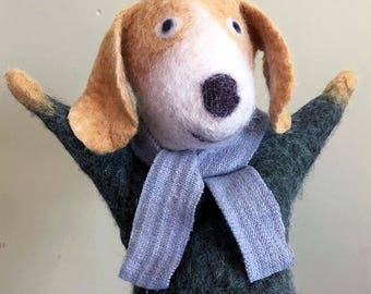 Eco Friendly Dog hand puppet, naturally dyed wool felt, nursery and home decor, soft art toy, soft sculpture