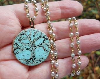 Mini Engraved Tree of Life I am enough quote locket Locket original artwork